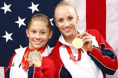 Nastia Liukin and Shawn Johnson became the first U.S. women competitors to win gold and silver together in the gymnastics all-around
