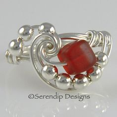 Wire Wrapped Ring Sterling Silver Red by SerendipDesignsJewel, $24.00
