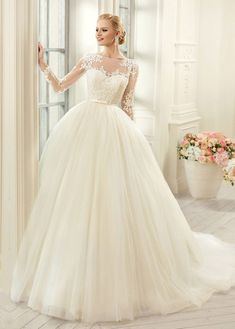 New Princess Lace Ball Gown Wedding Dress Tulle Boat Neck Bridal Gowns Long Sleeve With Belt Buttons Back Vestido De Noiva Sheer Wedding Dress, Modest Wedding Dresses, Tulle Wedding, Bridal Dresses, Wedding Gowns, Ivory Wedding, Wedding Venues, Wedding Girl, Princess Wedding