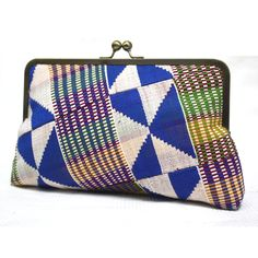 Handmade blue Kente clutch bag, custom made specially for Ivy.