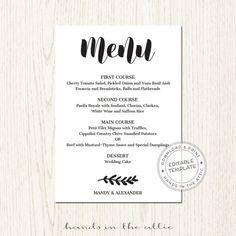 Printable menu cards, do it yourself DIY, card template