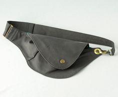 Belt Bag in Slate Cotton : Fanny Pack Hip Bag