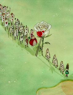 """""""Alice in Wonderland"""" by Eunyoung Seo (painting the roses, Queen of Hearts)"""