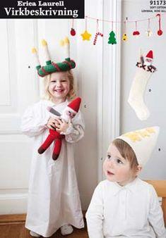 FREE Christmas Crochet Patterns : Lucia Crown, Santa Claus, Snowman, Orange, Toadstool, Saffron Bun, Christmas Tree, Candy Cane, Star, Apple, Stocking - GRATIS virkmönster jul (click on flag to get to free pdf pattern)