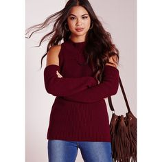 6ed532a1fa380 Missguided Cold Shoulder Jumper ( 34) ❤ liked on Polyvore featuring tops