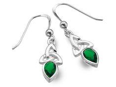 Silver Earrings - Celtic Trinity Emerald Celtic Designs, Emerald Stone, Sterling Silver Earrings, Birthstones, Swarovski Crystals, Indigo, Pendants, Drop Earrings, Beautiful