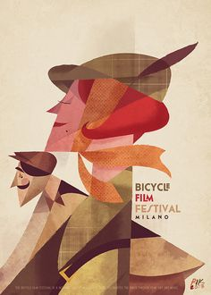 Bicycle Film Festival Milano poster by Riccardo Guasco.