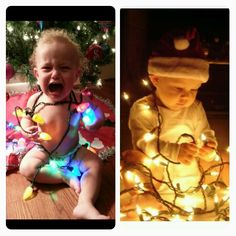 Pinterest fail...  Nailed it...  Baby in Christmas lights