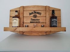 Items similar to jack daniels bar shelf on etsy - For lovers of whiskey or bourbon, these bar shelves are a must for your home bar or hobby room. Man Cave Desk, Man Cave Home Bar, Diy Wood Projects, Wood Crafts, Whisky Regal, Woodworking Plans, Woodworking Projects, Jack Daniels Bottle, Bar Shelves