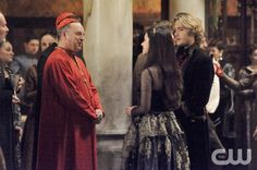 """Reign -- """"No Exit"""" -- Image Number: RE118b_0091.jpg -- Pictured (L-R): Ric Reid as Cardinal Morosini, Toby Regbo as Prince Francis and Adelaide Kane as Mary, Queen of Scots -- Photo: Ben Mark Holzberg/The CW -- © 2014 The CW Network, LLC. All rights reserved."""