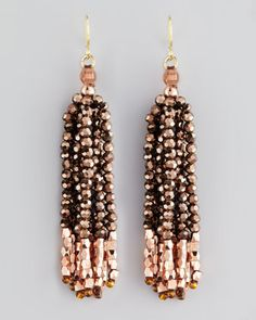 Iridescent Fringe Earrings by Nakamol at Neiman Marcus.