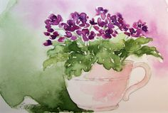 Purple African Violets in Teacup Painting