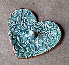 Ceramic Ring Holder Heart Bowl  Sea Green edged in gold by dgordon