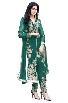 Green Color Georgette Straight Cut Suit - Rs. 1099.00