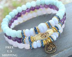 Yoga set of 3, Amethyst, Blue Lace Agate, Amazonite, Rose Quartz, mala bracelets, Meditation mala set, Reiki Charge, mala beads, lotus