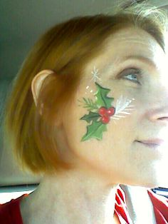 Christmas face painting cheek art idea simple