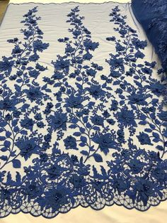 Bridal Lace Fabric - Hand Embroidered Flower Pearls Royal Blue For Veil Mesh Dress Top Wedding Decoration By The Yard Prom Decor, Bridal Decorations, Wedding Decoration, Bridal Lace Fabric, Floral Fabric, Mesh Fabric, Hand Embroidery Designs, Floral Embroidery, Embroidery Fabric