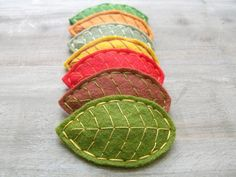 Felt Leaf Hair Clips Embroidered Felt Choose 3 Leaves Customize Your Very Own Leaf Pile by OrdinaryMommy on Etsy. $22.00, via Etsy.