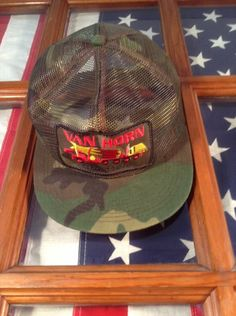 Vtg Hunters Van Horn Concrete Embroidered   Camo Mesh Trucker Cap Hat Snapback #BaseballCap