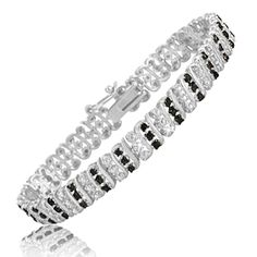$99.99 - 1.25 Carat Black Diamond Tennis Bracelet in Sterling Silver