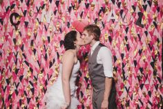 cyndi and paul photobooth, photo booth, photo-booth, diy, backdrop,background, pennants, flags, bunting, awesome, ideas, pink, gold, letters, wedding, marriage, married, reception