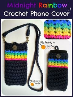 "Crochet Phone Pouch Midnight Rainbow"" - Crochet Phone Cover with Detachable Strap; Tutorial - Trinity Stitch in the round ~ free pattern - ""Midnight Rainbow"" Phone Cover - Free Crochet Pattern Tutorial Crochet Cozy, Love Crochet, Crochet Gifts, Single Crochet, Crochet Phone Cover, Crochet Mobile, Cell Phone Pouch, Phone Holder, Phone Case"