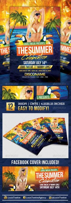 The Summer Celebration | Flyer + FB Cover #GraphicRiver The Summer Celebration | Flyer + Facebook Cover About: A perfect and attractive flyer for your next event! Features: 2 PSD Files Sizes: 4.25×6.25 Inches /// 851×315 px Resoultion: High Quality 300DPI CMYK and RGB color (RGB the facebook timeline cover) Print Ready! Includes Bleeds Easy, Fast and Simple to modify Highly Organised Layers All Elements Help File included Fonts Used: StreetBrush: .myfonts /fonts/robarnow/streetbrush Bebas…