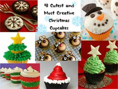 Cute Food For Kids: 41 Cutest and Most Creative Christmas Cupcakes! You'll love these ideas, I did when I made some! Holiday Cupcakes, Holiday Treats, Christmas Treats, Winter Christmas, Holiday Fun, Christmas Holidays, Merry Christmas, Xmas, Holiday Parties