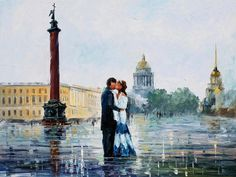 KISS IN ST. PETERSBURG  You can get 15% discount! Use this discount coupon - x25mk721oz  http://afremov.com/THE-KISS-PAINTING-IN-ST-PETERSBURG-PALETTE-KNIFE-Oil-Painting-On-Canvas-By-Leonid-Afremov-Size-40-x30.html?bid=1&partner=14089