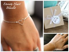 Mother of the Bride Gift, Mother of the Groom Gift, Mothers Bracelet, Eternity Heart Bracelet, Pearl, Silver, Dainty, Gift Tag via Etsy