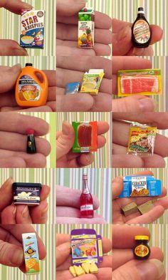 Dollhouse paquetes de comida en miniatura