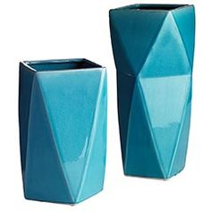 """Turquoise Triangles Ceramic Vases, Pier 1, $39.95.  Contemporary vases can be filled with decorative sticks, colorful blooms or dried grasses.  Colors:  Blue/Turquoise.  Size:  8""""W x 8""""D x 16""""H"""