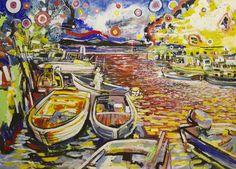 "Saatchi Art Artist Giovanni Gabassi; Painting, """"Marina, isola della Cona / Seascape, Island of Cona"""" #art"