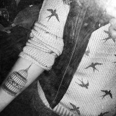 pássaros, gaiola, tattoo, colete de couro