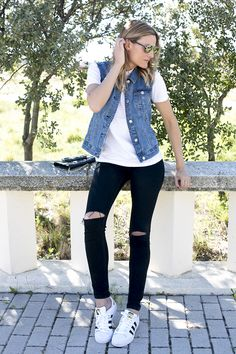 vest, denim, topshop, adidas, superstar foundation, dior, technologic, shades, fashion, guiadeestilo,