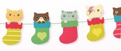 FREE printable Kittens-in-socks garland for holidays (but you have to register with an email-address for the download)