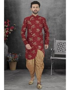 Maroon ready made Indo western. Wedding Dresses Men Indian, Wedding Dress Men, Wedding Suits, Western Outfits, Indian Outfits, Sherwani, Jute, Special Gifts, Pajama Set