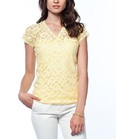 Loving this Yellow Lace V-Neck Top on #zulily! #zulilyfinds