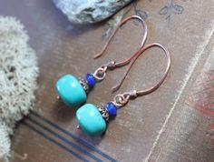 Turquoise Earrings Copper Hoop Gemstone Earrings Blue Earrings by…