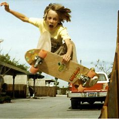 Boys and their skateboards..Tony Hawk circa 1979