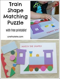 Train Shape Matching Puzzle - with free printable!