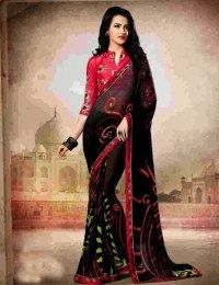Black Color Gorgeous Sari With Print Work