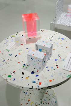 """Shiro Kuramata's 'Kyoto' table for Memphis-Milano 1983. Colored glass embedded in concrete, very heavy. """"Vase #2"""" is one of the most  iconic pieces of late 20th century by Shiro Kuramata (1934-1991).Created in 1989 and produced by Spiral."""