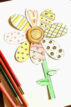 Printable Spring Flower Coloring Craft! A great way to work on patterns this spring!