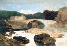 Greta Bridge by John Sell Cotman 1805. Cotman settled in Norwich where he started a small art school. For his students he started a subscription library of watercolors which they could borrow to take home to copy. This painting was likely one of them.