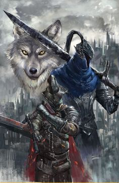 Dark Souls, Artorias The Abysswalker,Great Grey Wolf Sif, Abyss Watchers Dark Souls 3, Arte Dark Souls, Dark Fantasy Art, Dark Art, Dark Souls Artorias, Soul Saga, Bloodborne Art, Dark Blood, Fantasy Warrior