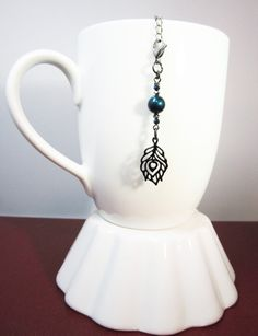 Peacock Feather Tea Infuser Charm.  Black Peacock by CamilleLaLune