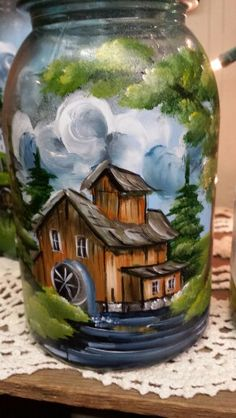 Mill painting water wheel
