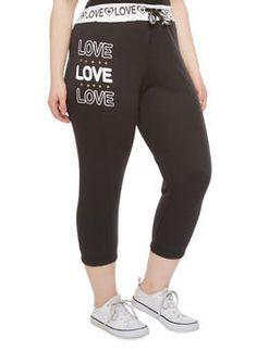 Plus Size Capri Joggers with Rhinestone Love Heart Graphics,BLACK