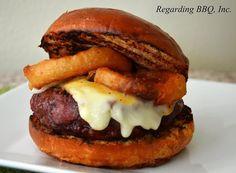 """Fifty Dollar Rib-eye Burger,"" stuffed with morel mushrooms.  YUM!"